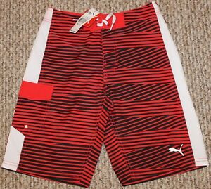 New! Boys Puma Striped Boardshorts (Swim; Red/Black) - Medium 10-12, Large 14-16