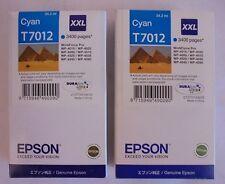 2x Epson Tinten T7012 Cyan 34,2ML WorkForce WP-4015 WP-4025 WP-4095 MHD 2016