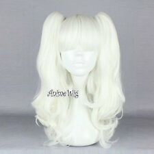 White Long Curly 50CM Women Anime Cosplay Wig With Ponytails + Wig Cap