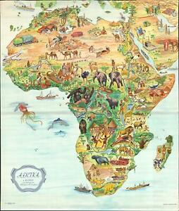1955 Lindblad Pictorial Map of Africa