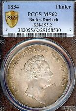 Germany Deutschland Baden-Durlach 1834 Taler Coin Thaler PCGS MS 62 Stempelglanz