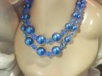 Wonderful Vintage 50's Blue Crystal Faux Pearl Double Strand Necklace 191D9