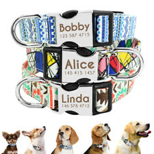 Personalized Nylon Dog Collars Pet ID Metal Name Tag Engraved Free Yorkie S M L