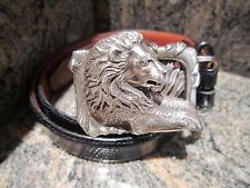 Rare!!! Kieselstein-Cord Sterling Lion Buckle with Black Lizard Belt