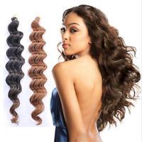 """18"""" 80g Deep Wave Crochet Bulk Braiding Hair Extensions Synthetic Crochet Braids"""