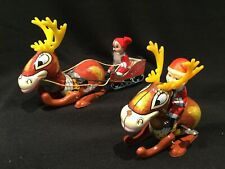 Lot of 2 Vintage 1960s Japan Mikuni Wind-up Tin Reindeer With Santas