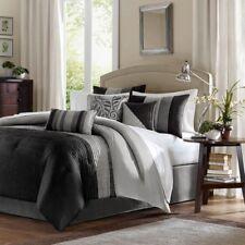 Queen Size New Amherst 7 Piece Comforter Set Iron Black Madison Park Mp10-225