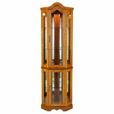 Golden Oak Finish Tempered Glass Front and Shelves Lighted Corner Curio Cabinet