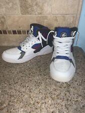 Nike Flight Huarache White Black Blue Basketball Shoes 705281 Size 7y #0174