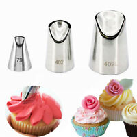 3pcs Decorating Ice Cream Tool Rose Petal Nozzles Baking Mold Icing Piping