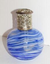 Ornate Art Glass Oil Lamp Aroma Fragrance Diffuser Cobalt Blue & White Swirls