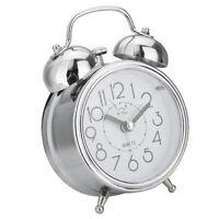 Round Shape Kids Room Clock Silver Coated Alarm Desk Clock Shelf Stand