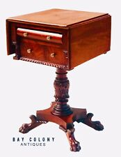 19TH C ANTIQUE CLASSICAL MAHOGANY WORK TABLE / NIGHT STAND