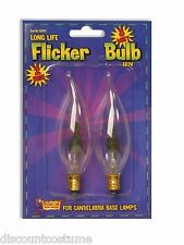 FLICKER LIGHT BULB HALLOWEEN PARTY ACCESSORY 3 WATT CANDLE BASE LAMP PACK  OF 2