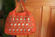 Aleanto Collezioni Large Italian Leather Orange Hand / Shoulder Bag NWT