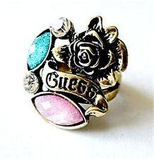Ajustable Vintage Goth Estilo Cristal Bronce Rose Anillo