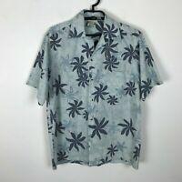Go Barefoot Hawaiian Shirt Mens Size S Blue Short Sleeve Floral Button Down