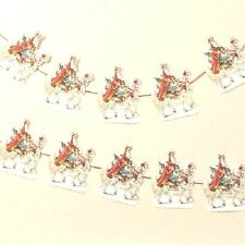 Antique Style Santa Claus White Horse garland Father Christmas decoration