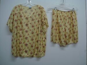USA Made Nancy King Lingerie Top w/ Boxers Pajama Set 2X Yellow Floral #257C