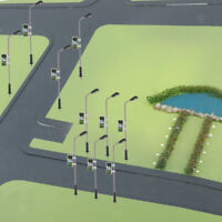 20pcs Train Railway Park Led Lamppost Street Model Lights N 1:150 Scale