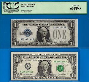 1928-A & 2003-A $1 S/C & FRN (( 64444446 )) PCGS New 63PPQ & UNC Perfect-RADAR-