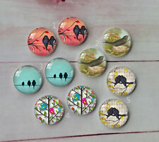 Bird animal Round Glass Cabochon Dome Flat Back Cover 10PCS 12mm A107