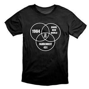 1984 Brave New World Fahrenheit 451 Conspiracy T-Shirt Black