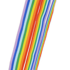 3m Polyester Rainbow Color Stripe Woven Grosgrain Ribbon Trim Sided DIY Craft