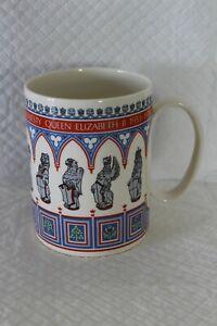 Large 12cm Wedgwood Queens Beasts Coronation Silver Jubilee Commemorative Mug