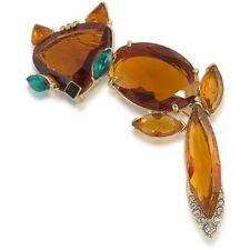 Faux Topax Gold Tone Amber Teal Nib Trina Turk $128 Nwt Fox Pin Brooch