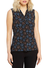 NWT ANNE KLEIN BLACK BLUE CAREER PLEATED TOP BLOUSE SIZE M $49