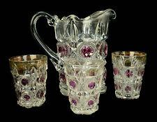 4 pc EAPG U.S. Glass Co. Bullseye & Daisy Amethyst Gold Pitcher & 3 Tumblers L8Y