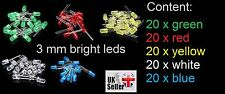 200 pcs x 3mm Round LED Light Emitting Diodes Lamp Bulb Ultra Bright mix colors