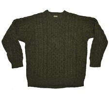 LL Bean Vintage Fisherman Wool Sweater Mens Size Large L Green Cable Knit Chunky