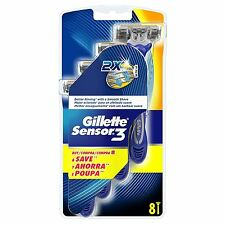 GILLETTE Sensor 3 Men's RASOIO USA E GETTA VIAGGIO LUBRASTRIP FACCIA DA BARBA-CONFEZIONE DA 8
