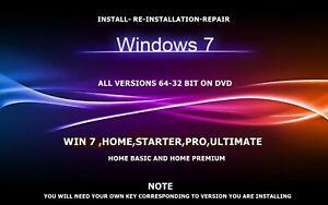 WIN 7 ALL VERSIONS 32 & 64 BIT INSTALL RE-INSTALL & REPAIR