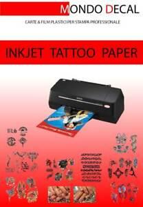 CARTA TRANSFER TATUAGGI TEMPORANEI  (TEMPORARY TATTOO PAPER) 1 KIT STAMPA INKJET
