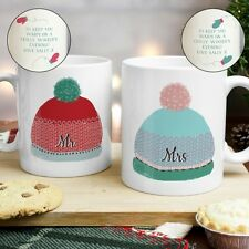 PERSONALISED CHRISTMAS HIS & HERS GIFT MUG SET Couple Mr and Mrs Mugs Present
