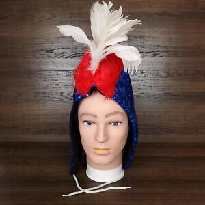 Party Mohawk Hood Blue Sequins Vegan Fur Feathers EDM Rave Festival Americana