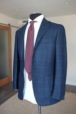 RING JACKET Loro Piana Dream Tweed Navy and Blue Windowpane Sports Jacket 42