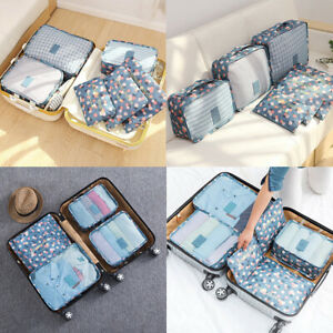 6 X Clothes Storage Bag Reusable Zip Space Saving Travel Luggage Organiser Pouch