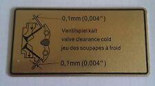 Ventilspiel-Aufkleber-Motorraum für alle Porsche 911 65-89, 90100650300