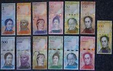 KOMPLETTE Serie 13 Banknoten VENEZUELA: 2 - 100.000 BOLIVAR 2007 - 2017