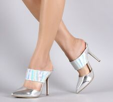 Silver Hologram High Heel Mule Slip On Pointed Toe Stiletto Pump Womens Shoes