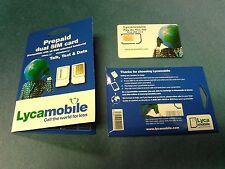 New Lycamobile Plus Sim Cards Dual Regular (Mini) Standard Prepaid Gsm Micro
