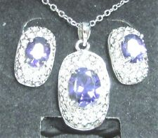 Vintage 80's Glass Glass Crystal Rhinestone Pendant Necklace Pierced Earring Set