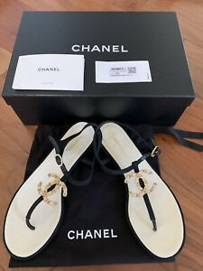 Chanel Black Thong Sandals With Clear Crystal 37.5