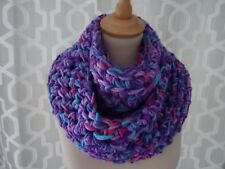 chunky scarf / snood /  infinity scarf hand crafted crochet mixed purple gift