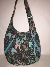 Brooklyn Industries Cotton Canvas Hobo Shoulder Bag Turquoise Black Floral