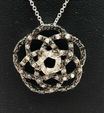 Sterling Silver 925 Black Onyx Diamond Pave Openwork Blooming Necklace 18""